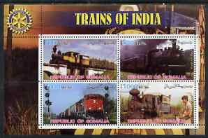 Somalia 2002 Trains of India #1 perf sheetlet containing 4 values with Rotary Logo, fine cto used