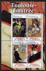 Somalia 2002 Toulouse-Lautrec Paintings perf sheetlet containing 4 values, fine cto used