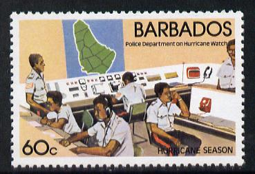 Barbados 1981 Hurricane Watch 60c with wmk sideways inverted unmounted mint SG 687Ei*