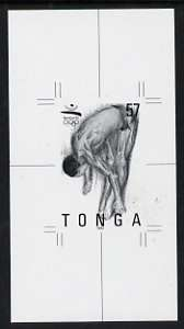 Tonga 1992 Diving 57s (from Barcelona Olympic Games set) B&W photographic proof, scarce thus, as SG 1178, stamps on diving, stamps on olympics