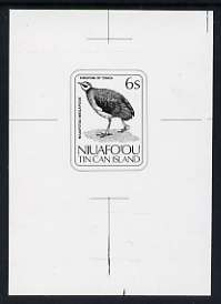 Tonga - Niuafo'ou 1983 Scrub Hen 6s (from Birds set) B&W photographic Proof as SG 31, stamps on birds