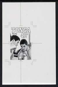 Tonga 1990 Boxing 42s (from Commonwealth Games set) B&W photographic proof, scarce thus, as SG 1065