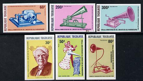 Togo 1978 Edison & Phonograph set of 6 imperf from limited printing unmounted mint, as SG 1296-1300