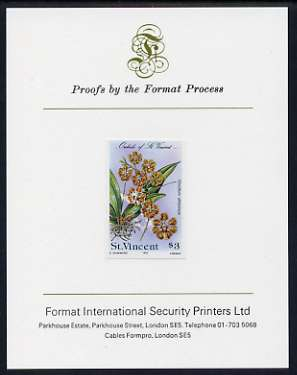 St Vincent 1985 Orchids $3 imperf proof mounted on Format International proof card