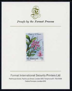 St Vincent 1985 Orchids $1 imperf proof mounted on Format International proof card