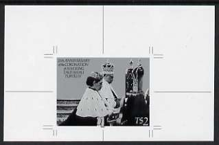 Tonga - Niuafo'ou 1992 King's Coronation Anniversary 2p B&W photographic Proof as SG 181