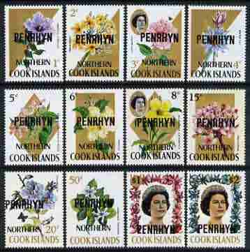 Cook Islands - Penrhyn 1973 flowers def set to $2 (with flourescent security markings) unmounted mint, SG 41B-52B