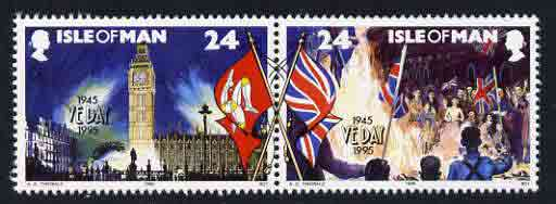 Isle of Man 1995 24p se-tenant pair from 50th Anniversary of VE Day unmounted mint, SG 645-46