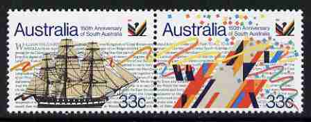 Australia 1986 150th Anniversary of South Australia se-tentant pair unmounted mint,  SG 1000a