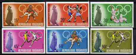 Togo 1968 Mexico Olympic Games imperf set of 6 from limited printing unmounted mint SG 603-608