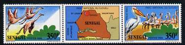 Senegal 1987 Djoudj National Park, the two 350f values se-tenant with label showing map, unmounted mint, SG 924-25