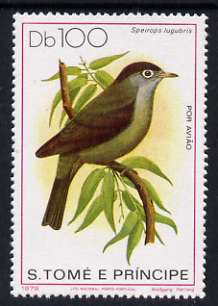 St Thomas & Prince Is 1979 Air 100d Black-Capped Speirops unmounted mint, Mi 609