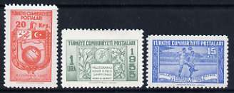 Turkey 1955 Int Military Football Championshop set of 3 unmounted mint, SG 1570-72