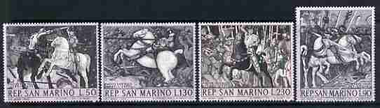 San Marino 1968 671st Birth Anniversary of Paolo Iccello (painter) set of 4 showing details of The Battle of San Rmano, unmounted mint, SG 849-52