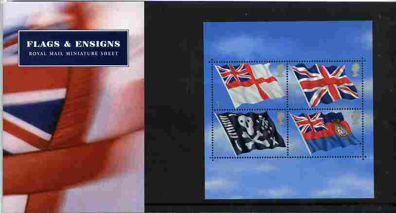 Great Britain 2001 Flags & Ensigns perf m/sheet in official presentation pack SG MS 2206