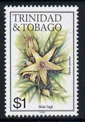 Trinidad & Tobago 1985-9 $1 Bois L'agli with '1989' imprint unmounted mint, SG 696
