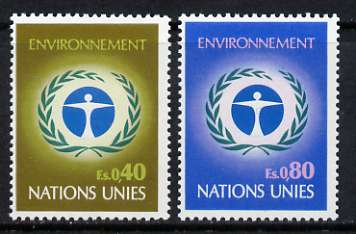 United Nations (Geneva) 1972 UN Environmental Conservation Conference set of 2 unmounted mint, SG G25-26