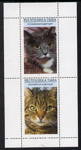 Touva 1995 (April) Domestic Cats perf souvenir sheet containing 2 values unmounted mint