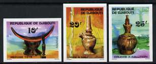 Djibouti 1977 Local Art imperf set of 3 (Water carrier, Washing Jar, Head Rest) unmounted mint, as SG 708-10