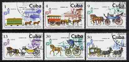 Cuba 1981 Horse-drawn Vehicles set of 6 fine cto used, SG 2726-31
