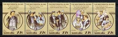 Australia 1983 Folklore 'The Sentimental Bloke' (humurous poem by C J Dennis) se-tenant strip of 5 unmounted mint, SG 890a