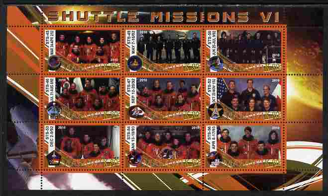 Malawi 2010 Space Shuttle Missions #06 perf sheetlet containing 9 values unmounted mint