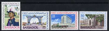Barbados 1967 1st Anniversary of Independence set of 4 unmounted mint, SG 367-70