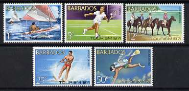 Barbados 1971 Tourism set of 5 (Scuba Diving, Water Skiiing, Horse Riding, Sailing, Tennis) unmounted mint, SG 429-33