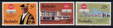 Barbados 1973 25th Anniversary of University of West Indies set of 3 unmounted mint, SG 476-78