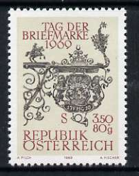 Austria 1969 Post-house Sign 3s50 + 80g Stamp Day unmounted mint, SG 1571