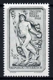 Austria 1968 Mercury 3s50 + 80g Stamp Day unmounted mint, SG 1536, stamps on postal, stamps on mythology