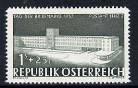 Austria 1957 1s + 25g Stamp Day (Post Office, Linz) unmounted mint, SG 1327