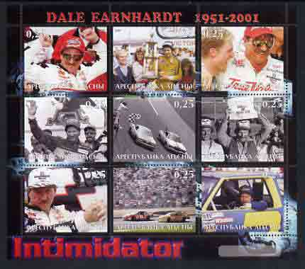 Abkhazia 2001 Dale Earnhardt perf sheetlet containing set of 9 values unmounted mint