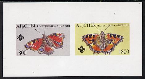 Abkhazia 1995 Butterflies (with Scout emblem) imperf souvenir sheet containing 2 values unmounted mint