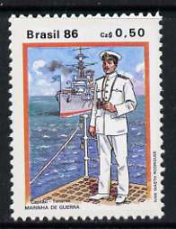 Brazil 1986 50c Lt Commander 1930, from Military Uniforms set of 2, unmounted mint, SG 2264