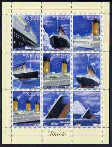 Tadjikistan 1999 The Titanic perf sheetlet containing set of 9 values unmounted mint