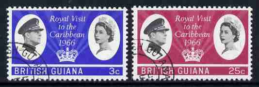 British Guiana 1966 Royal Visit set of 2 fine used, SG 376-77