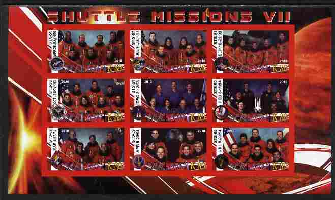 Malawi 2010 Space Shuttle Missions #07 imperf sheetlet containing 9 values unmounted mint