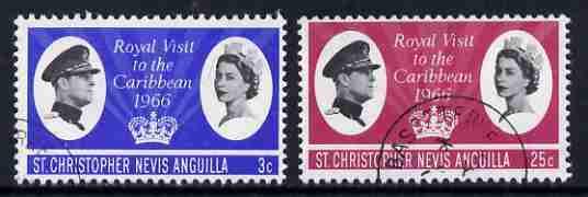 St Kitts-Nevis 1966 Royal Visit set of 2 fine used, SG 155-56