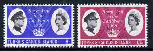 Turks & Caicos Islands 1966 Royal Visit set of 2 fine used, SG 266-67