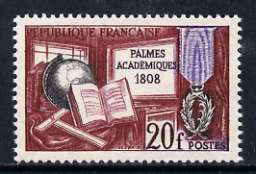 France 1959 20f 150th Anniversary of 'Academic Palms' (Globe, Medal, T-square) unmounted mint, SG 1414*