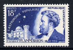 France 1956 18f Camille Flammarion (Astronomer), from French Scientists set of 4, unmounted mint, SG 1282