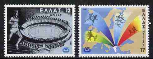 Greece 1981 European Athletic Championships (1st series) set of 2 unmounted mint, SG 1550-51