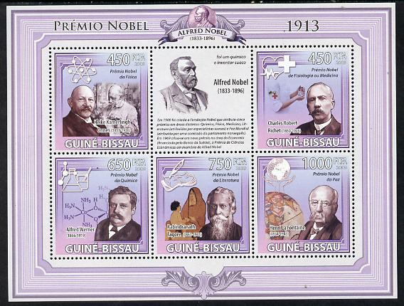 Guinea - Bissau 2009 Nobel Prize Winners - 1913 perf sheetlet containing 5 values unmounted mint