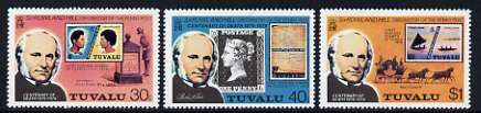 Tuvalu 1979 Death Centenary of Sir Rowland Hill set of 3 unmounted mint, SG 131-33 (gutter pair pro rata)