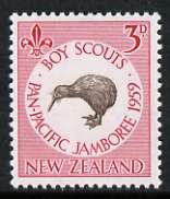 New Zealand 1959 Pan-Pacific Scout Jamboree 3d Kiwi unmounted mint, SG 771*