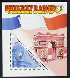 Nicaragua 1982 Mont Golfiere 15 cor triangular in m/sheet issued for Philexfrance 82 fine cto used, SG MS 2367