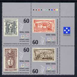 Micronesia 1996 Cent of Modern Olympic Games se-tenant block of 4 unmounted mint, SG 494-97