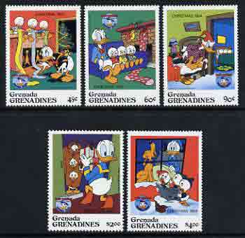 Grenada - Grenadines 1984 Christmas set of 5 featuring Donald Duck, nephews and Pluto unmounted mint, SG 639-44