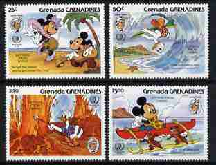 Grenada - Grenadines 1985 150th Birth Anniversary Mark Twain set of 4 with Disney characters illustrating scenes from Letters from Hawaii unmounted mint, SG 716-19